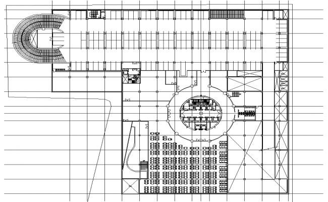 The Autocad Drawing file showing the details of the Marriage Hall Floor plan design with furniture seating arrangements.