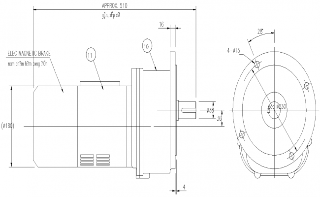 The Autocad Drawing file shows the details of the revolving system of the reduction gear , motor for slewing. Download the DWG file.