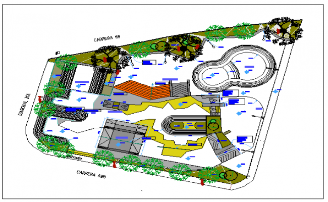 Theme and adventure city park landscaping details dwg file
