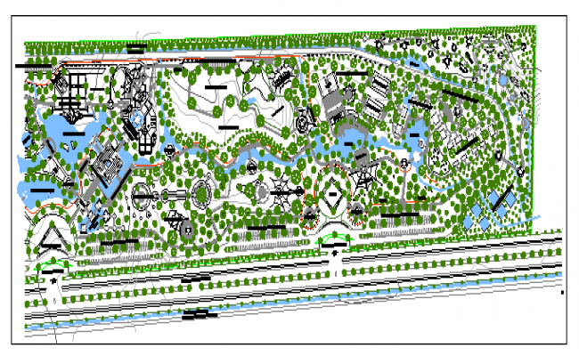 Theme park landscaping details of city park dwg file