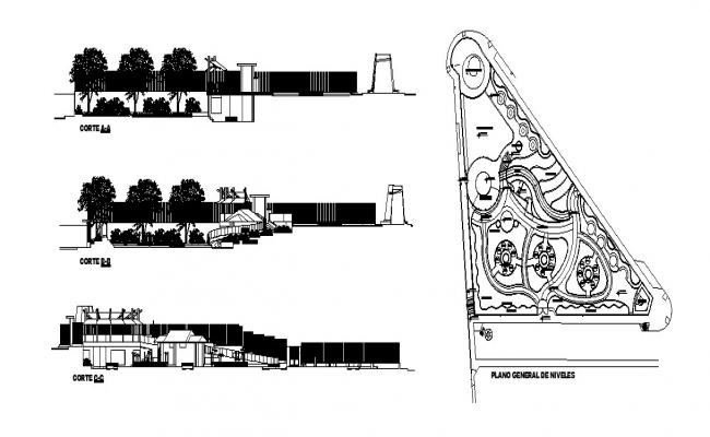 Theme park section and landscaping structure cad drawing details dwg file