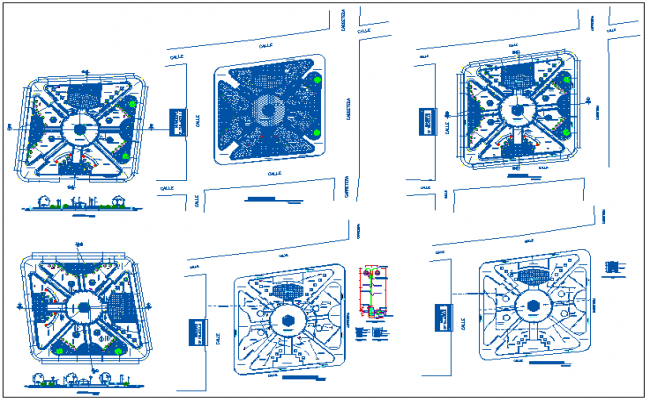Theme public park landscaping, gate elevation, site plan and landscaping details dwg file