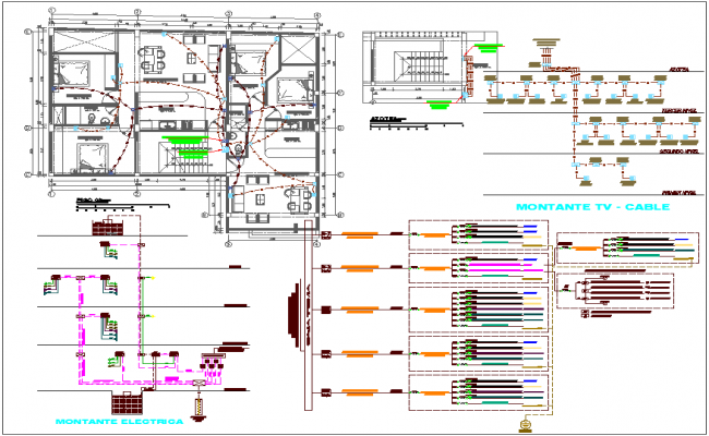 Third floor and ceiling plan T.V cable and telephone electric line view for housing design dwg file