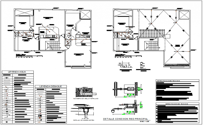 Third floor and ceiling plan with sanitary view of housing dwg file