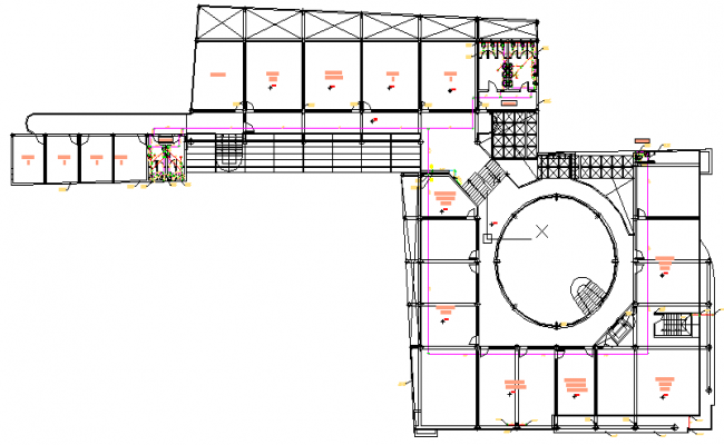 Third floor architecture layout plan of municipal office building dwg file