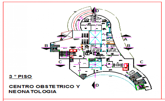 Third floor layout of various types of offices in corporate building design drawing