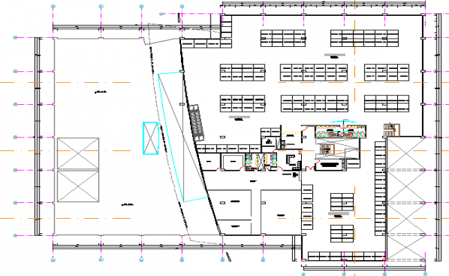 Third floor layout plan details of shopping center dwg file