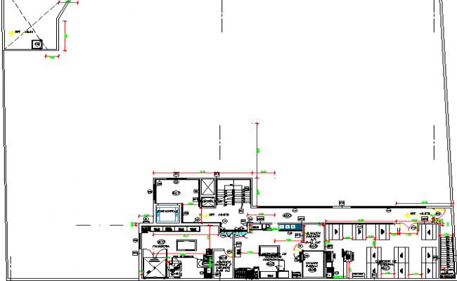 Third floor layout plan with sanitary installation of shopping center dwg file