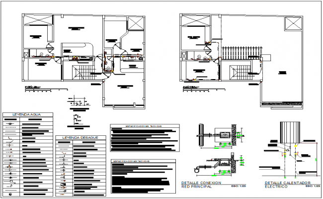 Third floor plan and roof top plan with sanitary view with housing area view dwg file