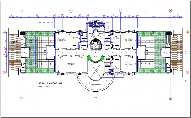 Third floor plan of office area with architectural view dwg file