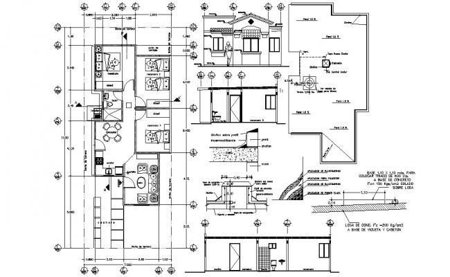 Three BHK Bungalow 2d Furniture Layout Plan CAD file