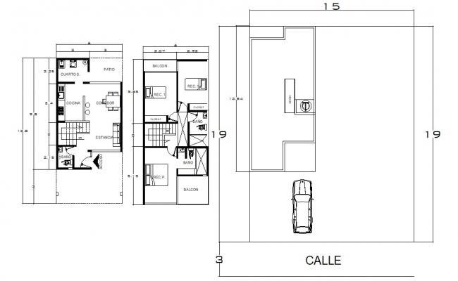 Three BHK Bungalow Furniture Layout CAD Plan