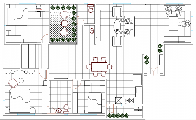 Three BHK House Design and Elevation dwg file