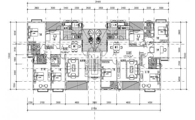 Three BHK Residential Furnished Bungalow  Plan