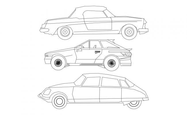 Three Cars Elevation Autocad 2D  Dwg Free Download