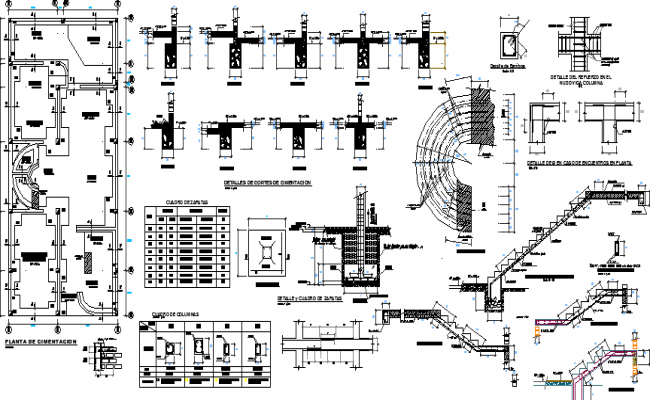 Three Flooring Housing Staircase and Construction Details dwg file