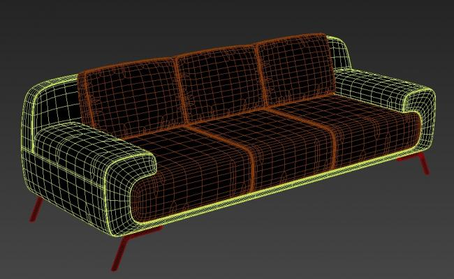 Three Seater Sofa Design With Basic Rendered In 3D MAX File Free Download