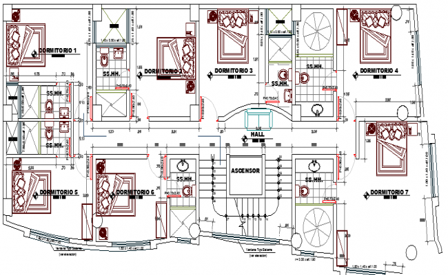Three Star Hotel Architecture Design and Structure Details dwg file