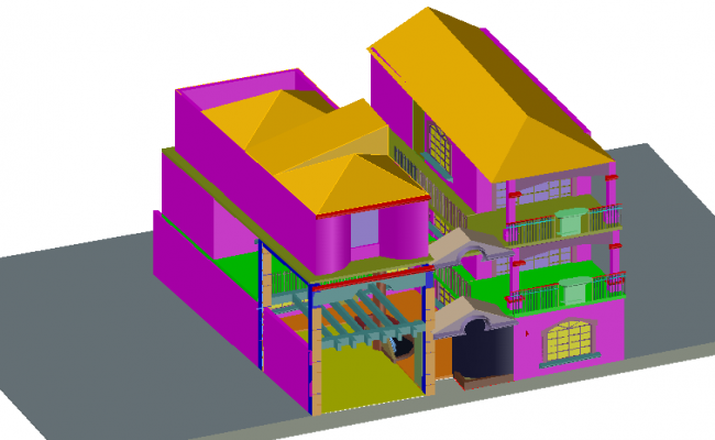 Three bedroom house 3D design dwg file