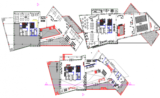 Three floor plan layout details of office tower with 100 meters height dwg file