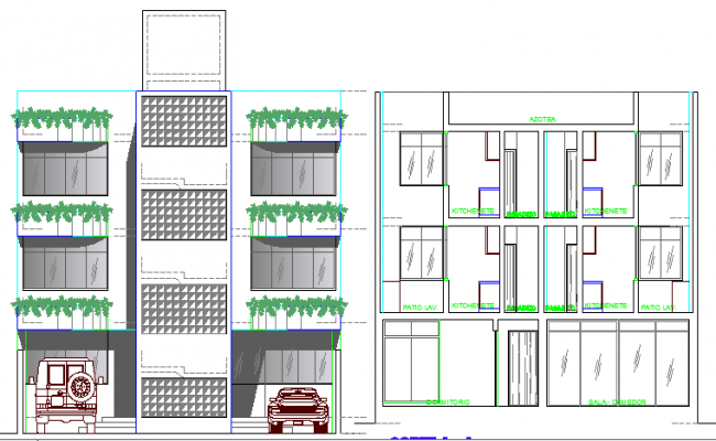 Three flooring bungalow elevation and section details dwg file