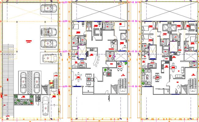 Three flooring bungalow floor plan details dwg file