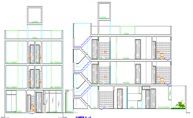 Three flooring bungalow side and main section plan dwg file