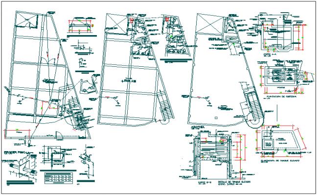 Three flooring clothing showroom plumbing details dwg file