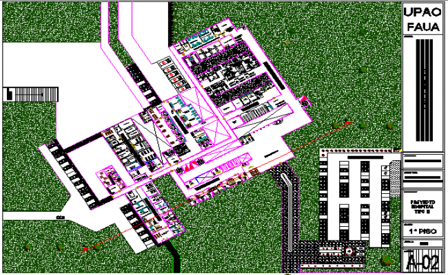 Three flooring hospital landscaping and site plan dwg file
