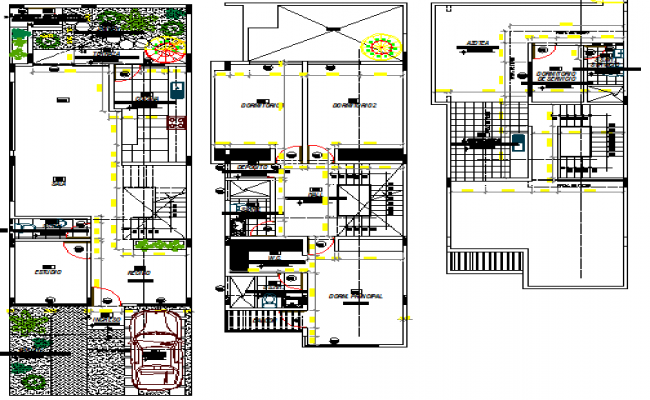 Three flooring residential bungalow floor layout plan details dwg file