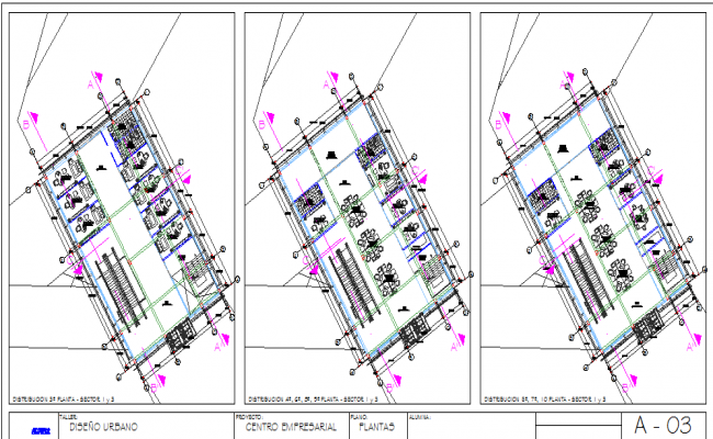 Three floors layout plan details of office complex dwg file