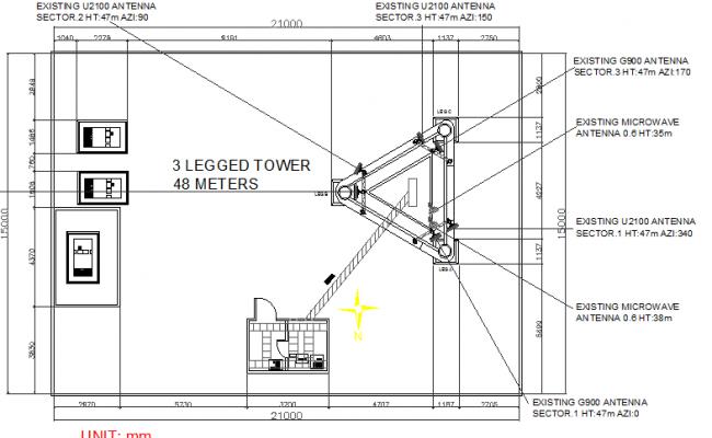 Three legged 48 meter range electric tower details dwg file