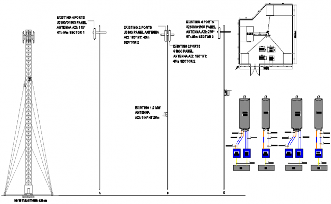 Three legged electric installation details with structure dwg file