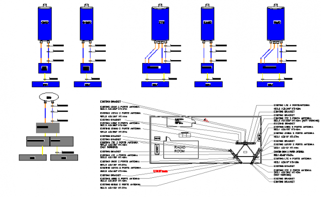 Three legged electric tower installation details with diagram dwg file