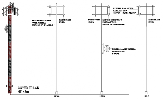 Three legged installation details of electric tower dwg file