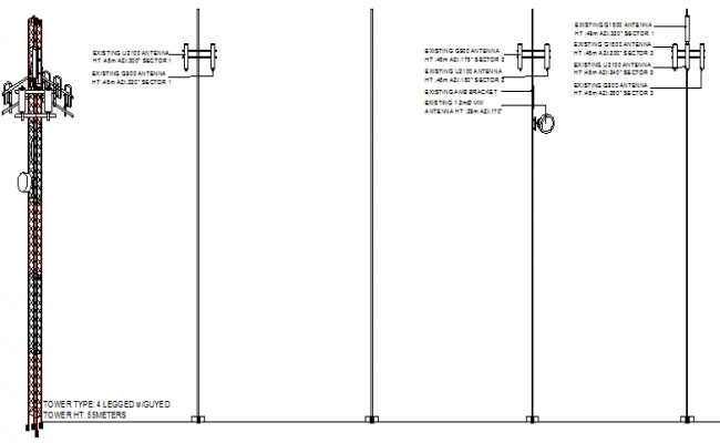 Three legged tower installation details dwg file