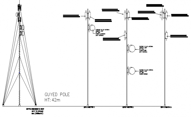Three legged tower installation with leg details dwg file