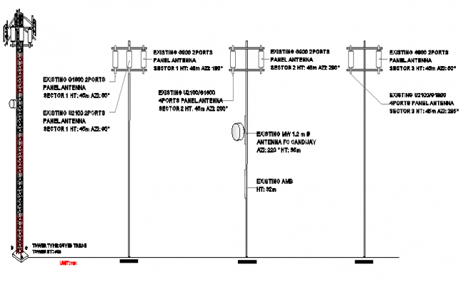 Three legged tower with legged installation details dwg file
