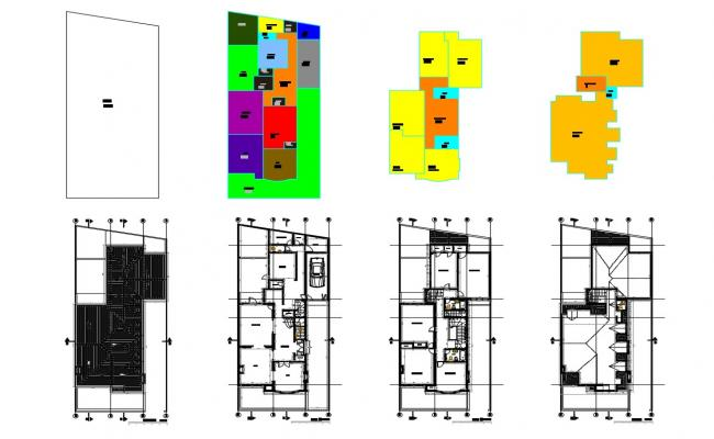 Three level house floor plan layout cad drawing details dwg file