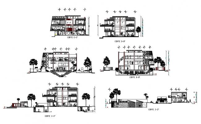 Three level luxuries club house building elevation and sectional drawing details dwg file