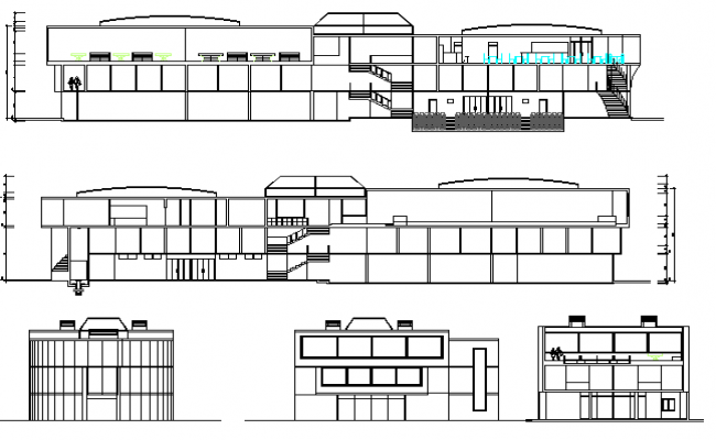 Three level shopping center elevation and sectional details dwg file