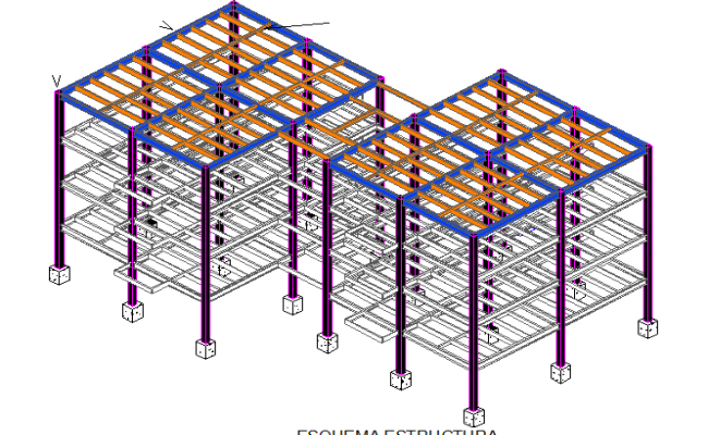 Three level steel frame isometric view details dwg file