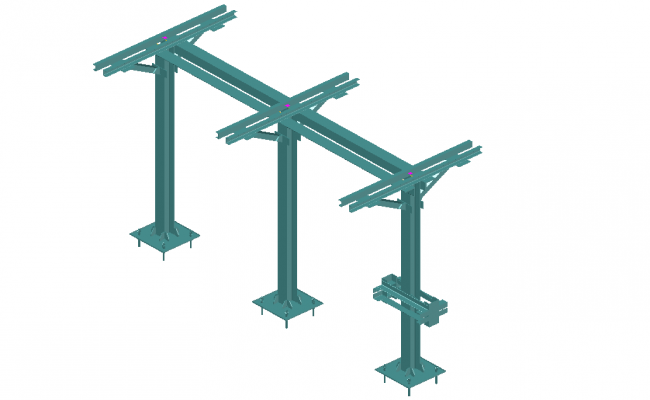 Three phase support metal 3 D separator 123 kv plan layout file