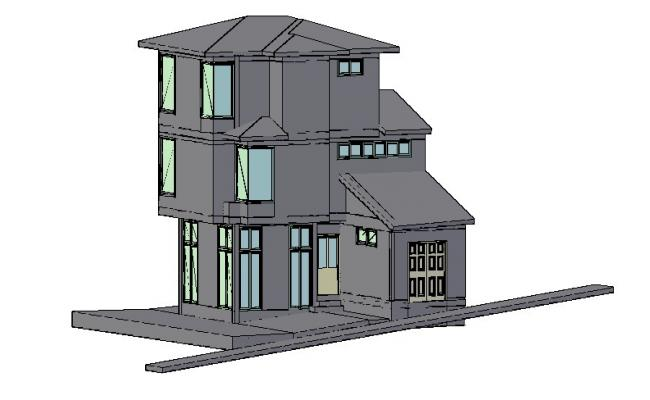 Three Story Bungalow Elevation 3d Cad Drawing Details Dwg File