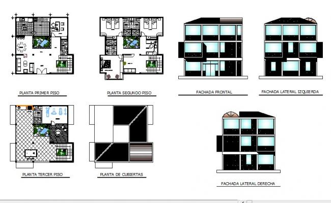 Three story house all sided elevation and floor plan cad drawing details dwg file