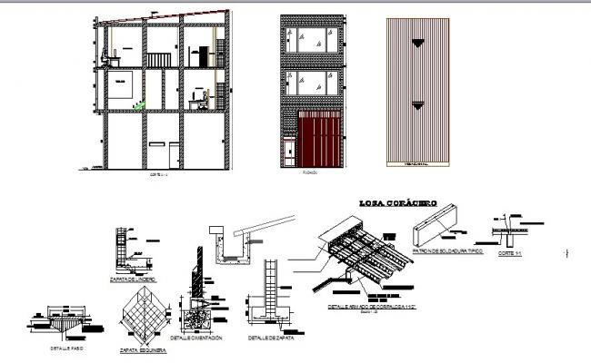 Three story office building elevation, section and construction details dwg file