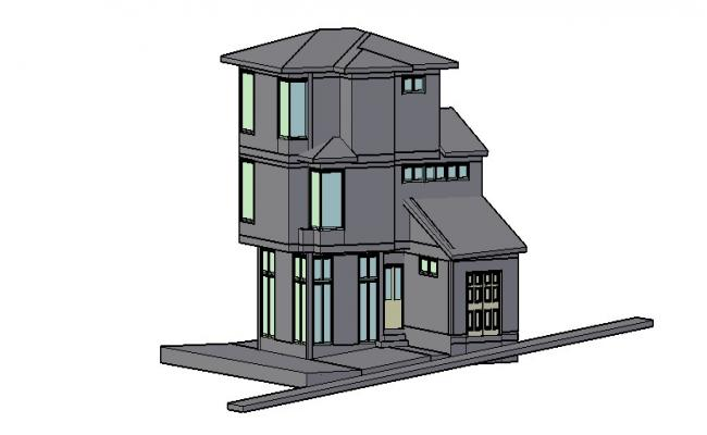 Three story one family house 3d model cad drawing details dwg file