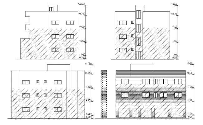 Three Storey Residential And Commercial Building Elevations CAD