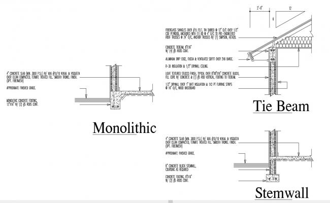Tie Beam Roof Section Design AutoCAD Drawing