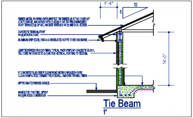 Tie beam detail dwg file